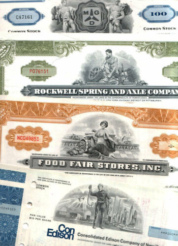 LOT of 1000 RARE VINTAGE PICTORIAL US STOCK CERTIFICATES @ 19.9c! FREE SHIPPING!