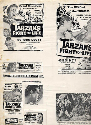 1958 TARZAN Fight for Life Original Ad Slicks Mat Gordon Scott Eve Brent 3Pieces