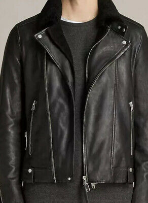 All Saints Prospect Real Leather Biker Jacket Size S BNWT Rrp £450