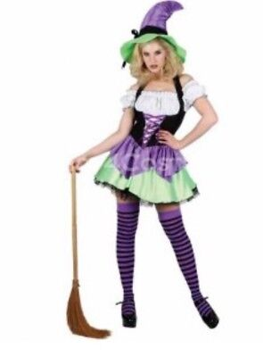 Naughty Witch Wicked Costumes Halloween Fancy Dress Women's  XS - Naughty Witch Costume