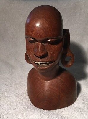 VINTAGE CARVED WOODEN AFRICAN ETHNIC BUST OF MAN WITH LOOPED ARS & TEETH