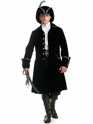 ADULT MENS COLONIAL PIRATE CAPTAIN COSTUME LONG COAT JACKET DISTINGUISHED BLACK (Black Pirate Coat Kostüm)