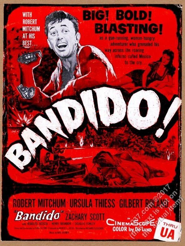1956 Robert Mitchum photo Bandido movie release vintage trade print ad