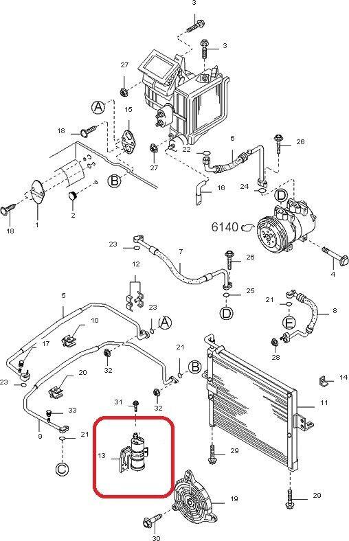 Receiver Drier Assembly GENUINE KIA 0K08A61500 2000-2002