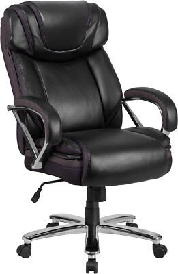 BLACK LEATHER 500LB CAPACITY BIG MANS TALL DOUBLE PADDED HOME OFFICE DESK CHAIRS (Big Mans Chair)