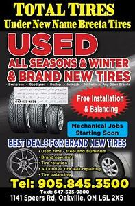 225 65 17 set of 4 tires Continental, All season.