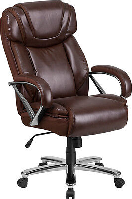 Big Tall Brown Leather Executive Office Chair Extra Wide Seat 500 Lbs Capacity