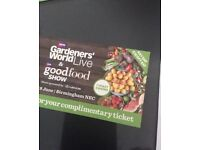 2 x BBC good food show gardeners world live tickets any day not Saturday this weekend LAST CHANCE