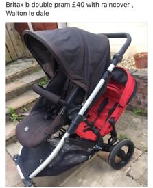 Britax B double pram with raincover