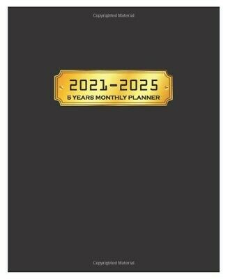 5 Year Planner 2021 - 2025 Weekly Monthly Calendar Organizer Black Gold Cover