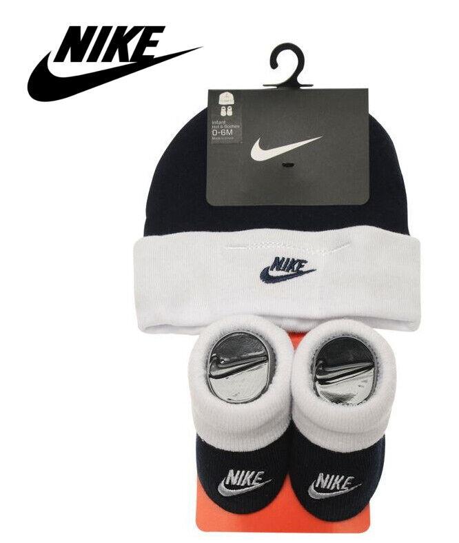 Nike Baby Socken Mütze Geschenk 2er Set Junge Geburt Geschenksets Obsidian