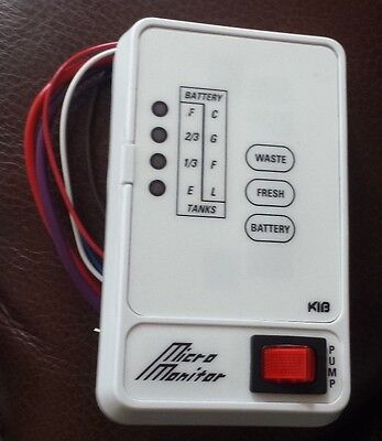 RV KIB MICRO MONITOR PANEL WASTE/FRESH/BATTERY/PUMP SWITCH  ()
