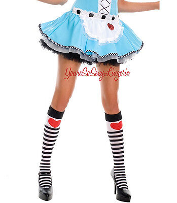 Alice in Wonderland KNEE HIGH'S Long Socks QUEEN OF HEARTS Striped for COSTUME
