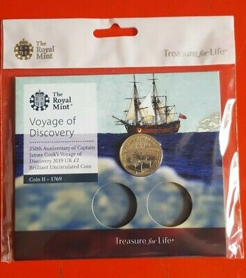 2019 Royal Mint Captain James Cook UK £2 Two Pound Brilliant Uncirculated Coin