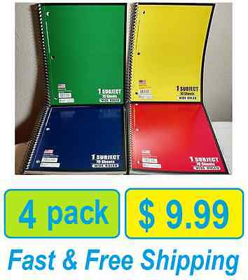 Spiral Notebook Wide Ruled 1 Subject 70 Sheets Wide Ruled Spiral Notebooks Qty 4