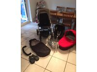 Mamas and papas sola2 pushchair with accessories and Cybex Aton car seat and adapters.