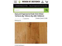 41/2 m2 of natural oak click wood flooring.