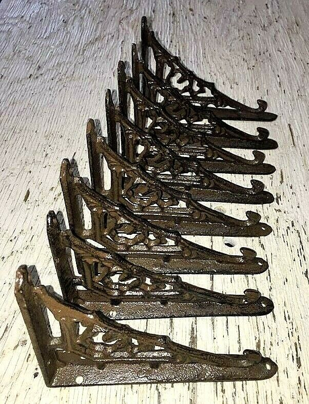 SET OF 8 CAST IRON GINGERBREAD BRACE SHELF BRACKETS antique brown patina finish