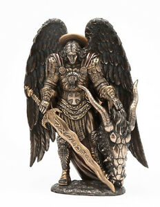 St. Saint Michael Archangel Statue With Slain Dragon Head Lucifer Figurine Decor