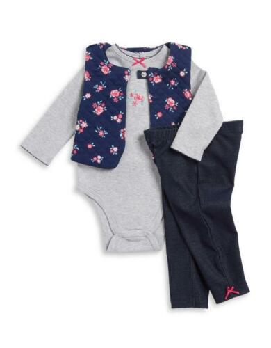 LITTLE ME® Baby Girl 3M Quilted Vest, Bodysuit & Pant Set N