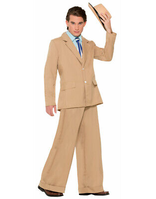 Adults Mens Khaki Roaring 20s Gold Coast Gentleman Gatsby Costume Large 42-44 - 20s Costume Men