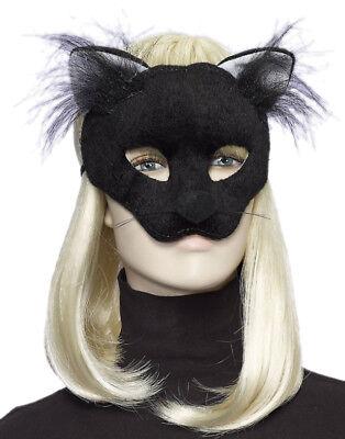 Adult Cat Mask (Adult Deluxe Black Plush Cat Kitten Animal Half Eye)