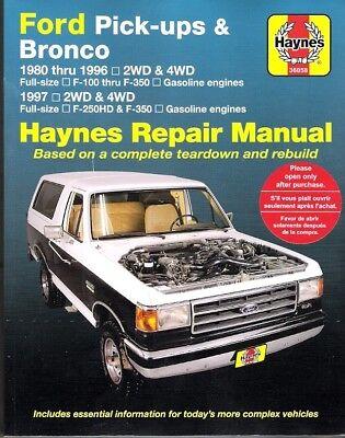 1980-1996 Ford F100 F150 F250 F350 Bronco Haynes Repair Service Shop Manual 0107
