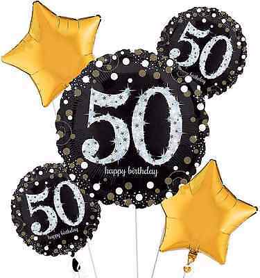 50th Balloons (Sparkling Celebration 50th Birthday Balloon Bouquet Party Supplies Fiftieth /)