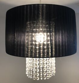 Lampshade large black voile and glass beads (x2 available)