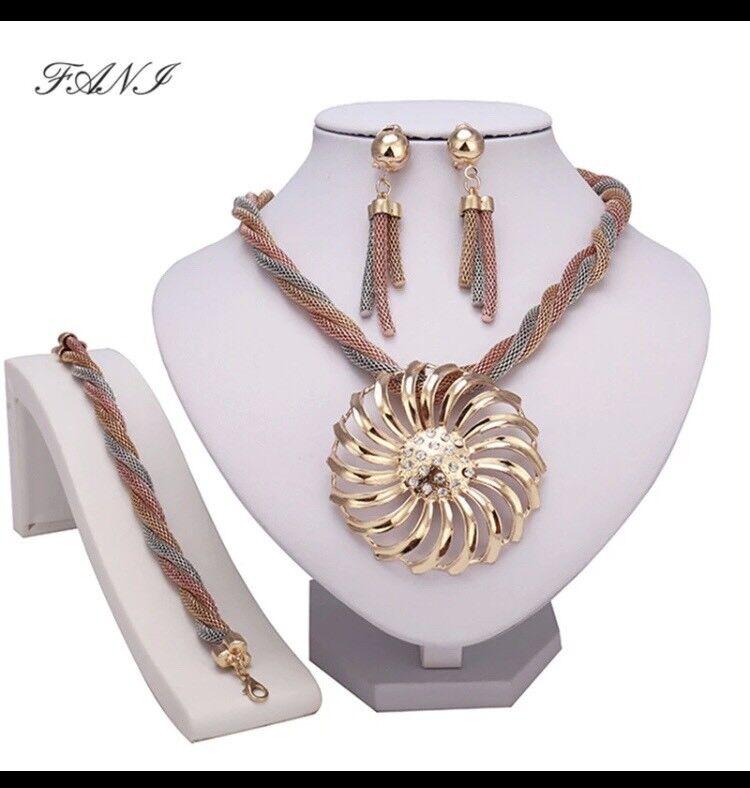 Fani 2018 Nigerian Wedding Jewelry Set Brand Bridal Accessories Dubai Gold-colorful Jewelry Sets Afr