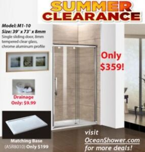 Old Bathtub to clear frameless tempered glass shower door