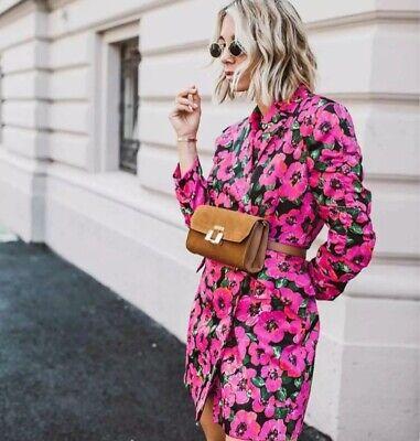 Zara Pink Floral Blazer Dress With Belt Size Extra Small Xs