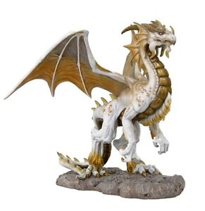 Tom Woods Fantasy White Dragon Snowcave Mountain Blizzard Land Statue Figurine