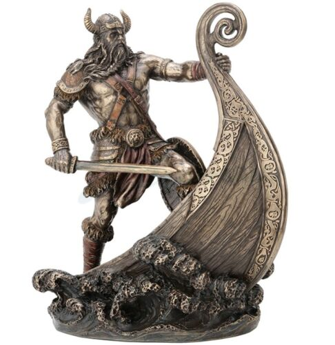 """9.5"""" Viking Warrior Standing on Prow Statue Sculpture Norse Decor"""