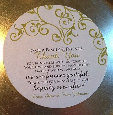50 Wedding Reception Thank You Cards for Dinner Plate - Vintage Floral any -