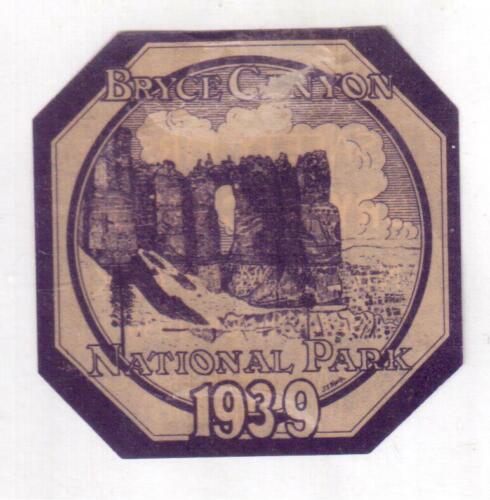 1939 Bryce Canyon National Park, Utah Entrance Permit Sticker