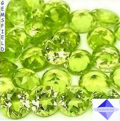 LOT 100 brillants 4mm IF !! PERIDOTS de MYANMAR !! lumineux vert tendre !! AAA++
