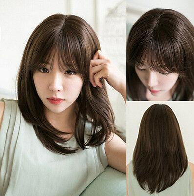 Medium lange Haare Cosplay Anime Haar Mädchen Frauen gerade Perücke ()