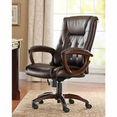 Heavy Duty Leather Office Rolling Computer Chair Brown High Back Executive Desk ()