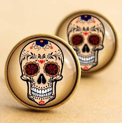 Sugar Skull Cufflinks, Rockabilly Halloween Day Dead Tattoo Punk Blue Floral ()