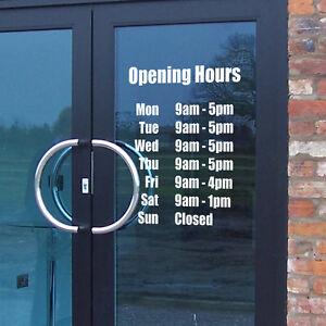 Opening Hours Times Shop Custom Vinyl Sign Sticker