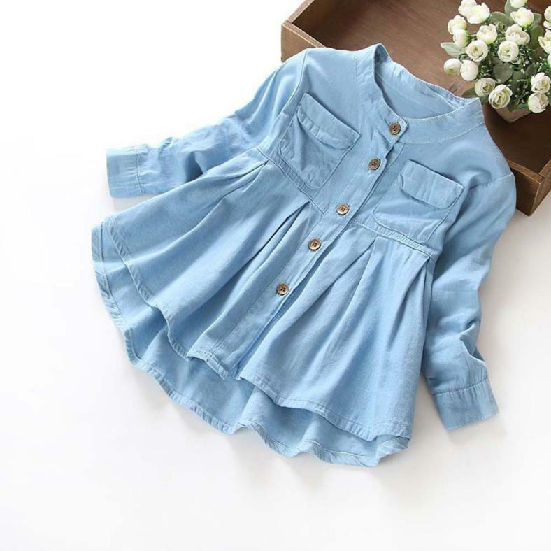 Toddler Kid Baby Girls Denim Ruched Long Sleeve T-Shirt Tops Blouse Clothes