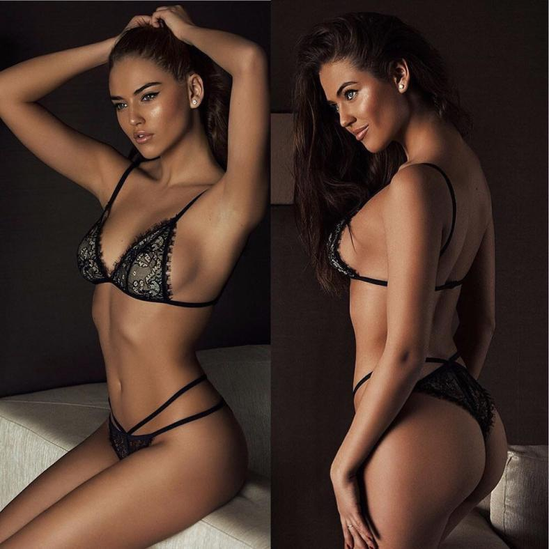Women Eyelash Lace Belt Underwear Lingerie Corset Push Up Top Bra+Pants Set