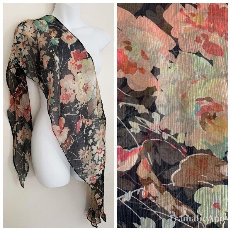 "Vintage LAUREN RALPH LAUREN Women Long Silk Scarf Black Multi Floral 11""x68"""