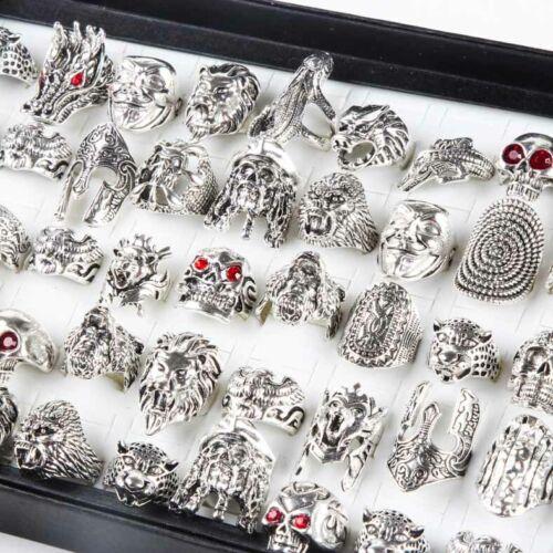 50pcs lot Gothic Skull Animal Ring Silver Bohemian Punk biker Vintage Party Gift