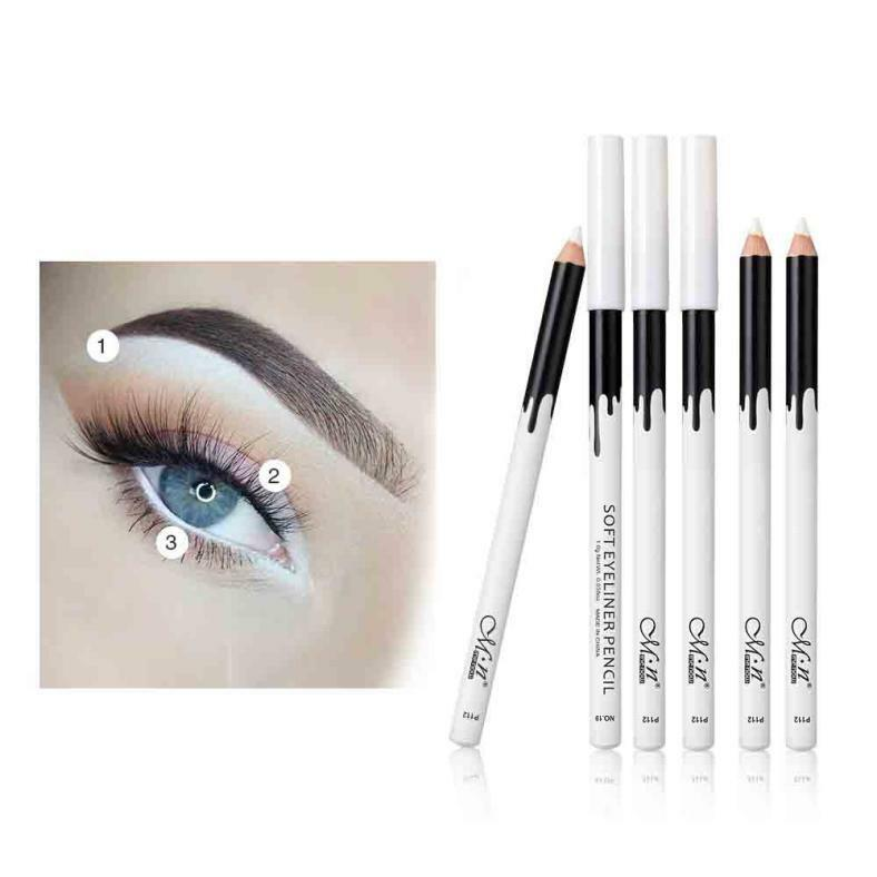 12PC White Eyeliner Pencil Eye Liner Waterproof Long Lasting Eye Brighten mt