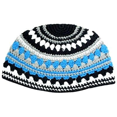 frik kippah skull cap yarmulke yamaka crochet colorful blue striped israel 26 cm