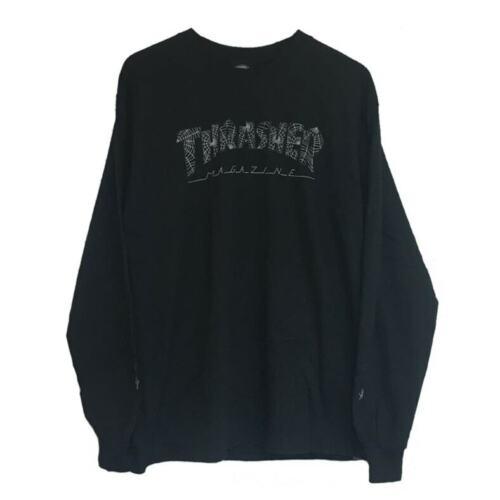 Thrasher Skateboard Magazine Web Logo Black Longsleeve T-Shirt Size Large