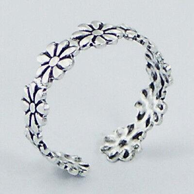 Silver Daisy Flower Toe Ring Sterling Silver 925 Plain Best Deal Jewelry Gift