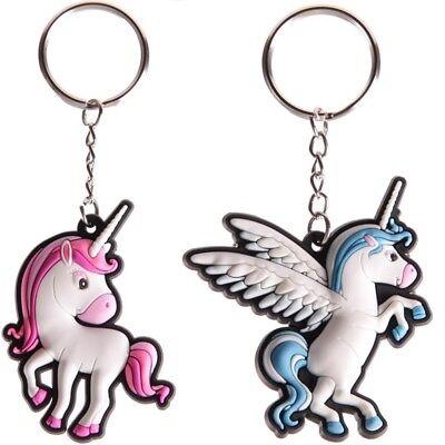 Schlüsselanhänger Einhorn Glücksbringer Unicorn Soft-PVC rot / blau - sehr süß (Glücksbringer Schlüsselanhänger)